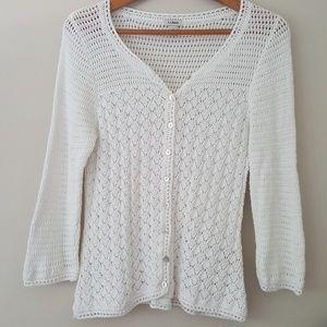 L.L Bean Crochet  Cardigan Sweater
